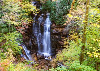 Waterfall in the Smokies in fall colors.