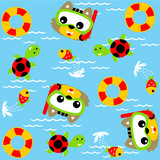 Cartoon cat with friends in swimming pool on pattern background