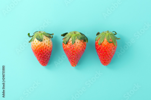 Strawberries on light blue background, flat lay - 246735880