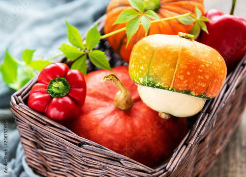 Autumn arrangement of pumpkins - basket with vegetables - 246752696
