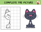 Complete the picture of a funny cat. Copy the picture. Coloring book. Educational game for children. Cartoon vector illustration - 246753484