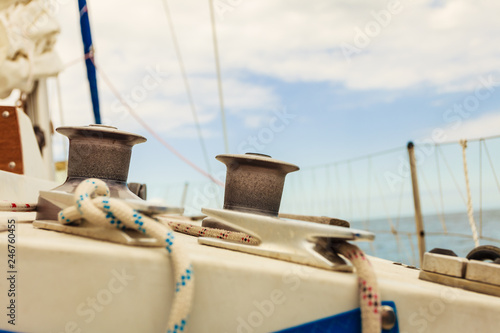 Yacht capstan on sailing boat during cruise
