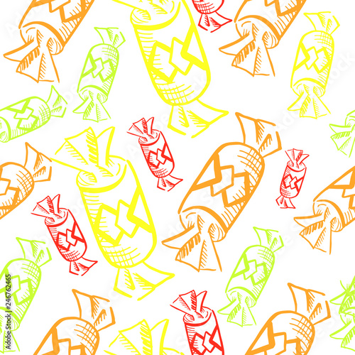 fototapeta na ścianę candy pattern, yellow seamless vector pattern, vector seamless pattern, bright yellow, orange and red candy canes and sweetmeats, candy sketch, yellow shades drawn on a white background
