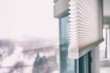 Leinwanddruck Bild Home blinds - cordless cellular honeycomb pleated shade modern shades on apartment windows. Automated curtains blind.
