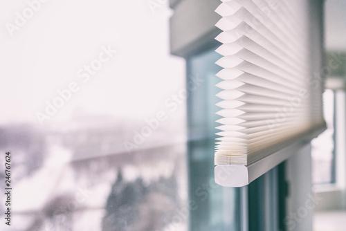 Leinwanddruck Bild - Maridav : Home blinds - cordless cellular honeycomb pleated shade modern shades on apartment windows. Automated curtains blind.