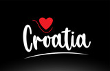 Croatia country text typography logo icon design on black background