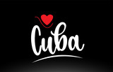 Cuba country text typography logo icon design on black background