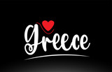 Greece country text typography logo icon design on black background