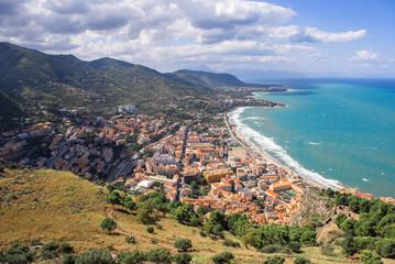 Town Cefalu on Sicily beautiful blue sea view © Jekaterina