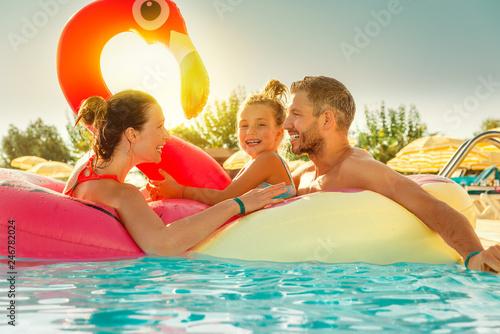 Leinwandbild Motiv Familie Pool spaß