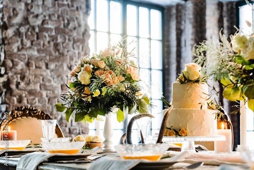 Leinwandbild Motiv A very nicely decorated wedding table