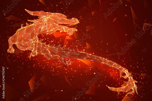 symbol of chinese new year. long flying dragon kite. vector 3d illustration