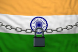 India flag closed chain with padlock