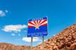 Welcome to Arizona Road Sign, on the border of U.S. States Arizona and Nevada