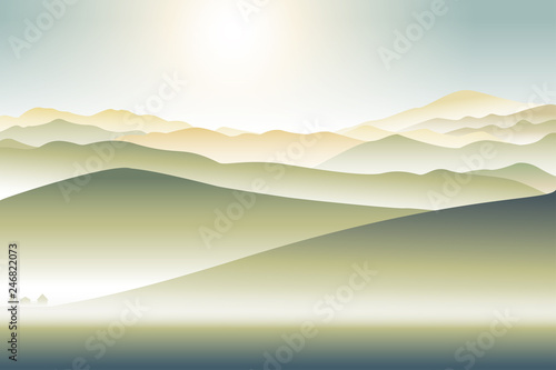 mountains landscape with lonely house foothill  abstract illustration background