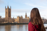 Tourist looking at Westminster Palace, the Houses of Parliament, in London, UK England