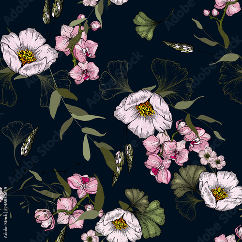 Vintage background. Wallpaper.  Hand drawn. Vector illustration. Paradise flowers. Realistic isolated seamless flower pattern. © Yuliia
