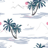 Blooming realistic isolated jungle plants, palm. Hand drawn bright illustration. Tropical vector seamless flower and leaves pattern. Exotic background. Wallpaper.