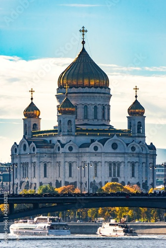 Moscow River and Temple of Christ the Savior, Moscow, Russia. - 246838289