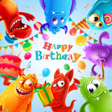 happy birthday illustration with cute monster