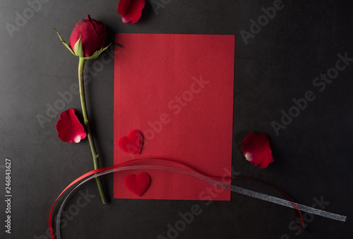 Red Rose with white card