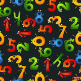 Seamless pattern cartoon characters numbers.