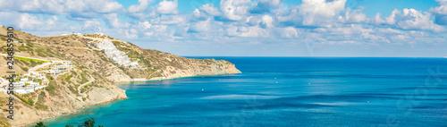 Beautiful Panorama with turquoise sea. View of Theseus Beach, Ammoudi, Crete, Greece. - 246859610