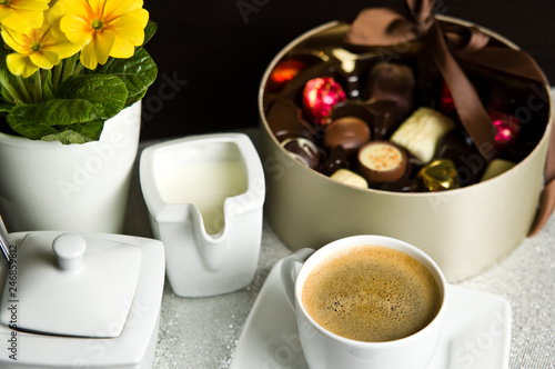 Cup of coffee and chocolates © AHatmaker