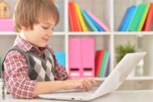 Leinwandbild Motiv Portrait of boy using laptop at home