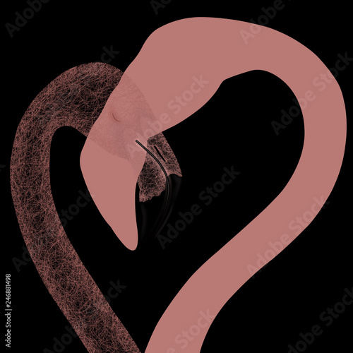 Abstract illustration for Valentine's day two pink flamingos - 246881498
