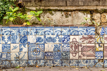 Typical portuguese tiles in Lisbon, Portugal, Europe