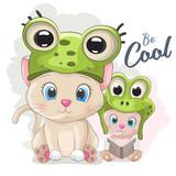 Cute cartoon cat in a frog hat