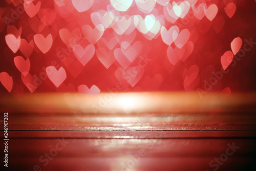 fototapeta na ścianę Bright red hearts abstract bokeh background