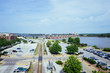Parking lots, tran track, and Mississippi River, in Davenport, Iowa, USA