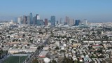 Aerial Shot of Los Angeles Downtown Skyline from Korea Town
