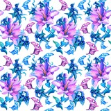 seamless floral pattern with lilies flowers