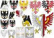 Big Set of Heraldic Eagles - Black and White Illustrations and Colored Illustrations, Vector
