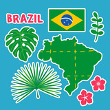 Brazil icon set. Tropical exotic leaves. Flat vector illustration set of stickers icons.