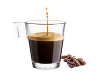 "Постер, картина, фотообои ""Black coffee in glass cup with coffee beans and jumping drop on white background"""