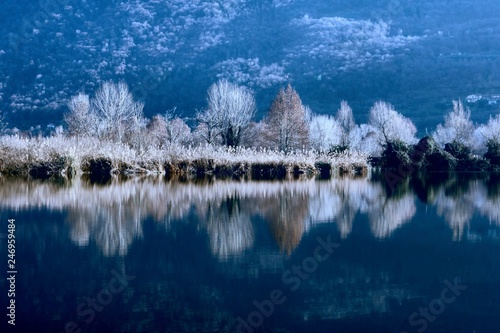 winter reflection on landscape lake © spetenfia