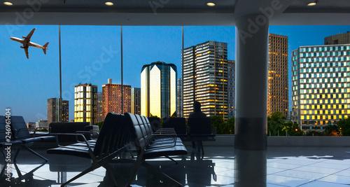 vista dello skyline norrurno di Parigi dall'aeroporto - 246961404