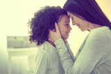 Little mulatto girl and her adoptive mom living in total harmony.