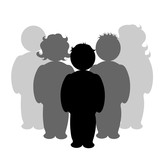 Illustration of people icon. Vector silhouette on white background. Symbol of team. Sign of person. - 246979468