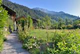 flowered path going to an alpine village in mountain landscape  - 246989258