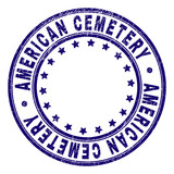 AMERICAN CEMETERY stamp seal watermark with grunge texture. Designed with circles and stars. Blue vector rubber print of AMERICAN CEMETERY text with grunge texture.