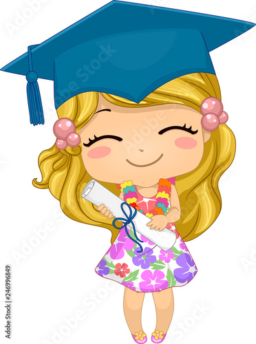 Kid Girl German Preschool Graduate Illustration