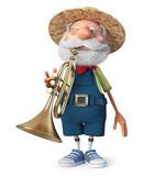 3d illustration cheerful farmer plays the trumpet - 246998838