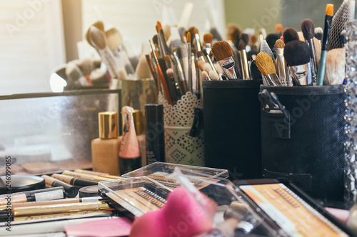 Professional makeup products with cosmetic beauty brushes and tools, make-up set