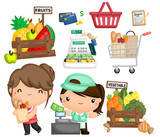 a vector of a woman buying groceries