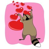 Color vector illustration of a cartoon cute raccoon greeting card Valentine's Day